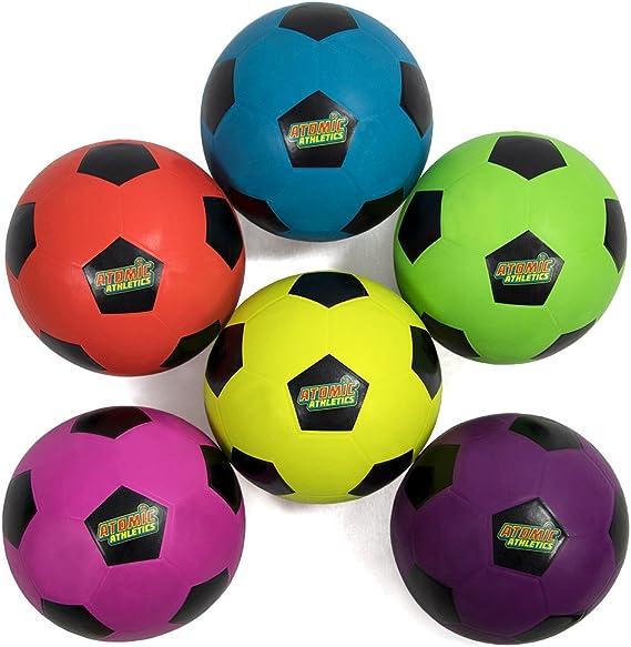 Atomic Atletismo 6 unidades de neón de goma parque infantil fútbol pelotas – Reglamento tamaño 5, 8,5