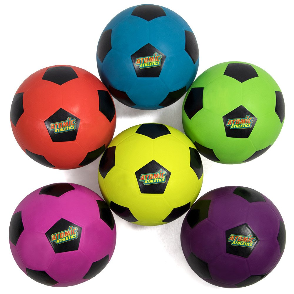Atomic Athletics 6 Pack of Neon Rubber Playground Soccer Balls - Regulation Size 5, 8.5'' Balls with Air Pump and Mesh Storage Bag by K-Roo Sports