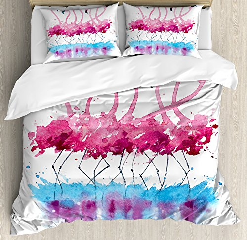 Ambesonne Animal Duvet Cover Set, Flamingos Love Birds Feather Romance Brushstroke Splash Watercolor Effect, Decorative 3 Piece Bedding Set with 2 Pillow Shams, Queen Size, Pink Blue