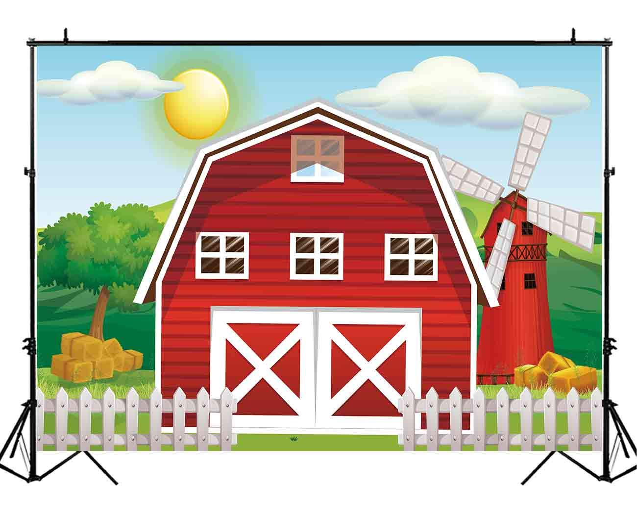 Funnytree 7x5ft Durable Fabric Cartoon Red Farm Animals Party Backdrop No Wrinkles Children Birthday Background For Photography Decorations Photobooth