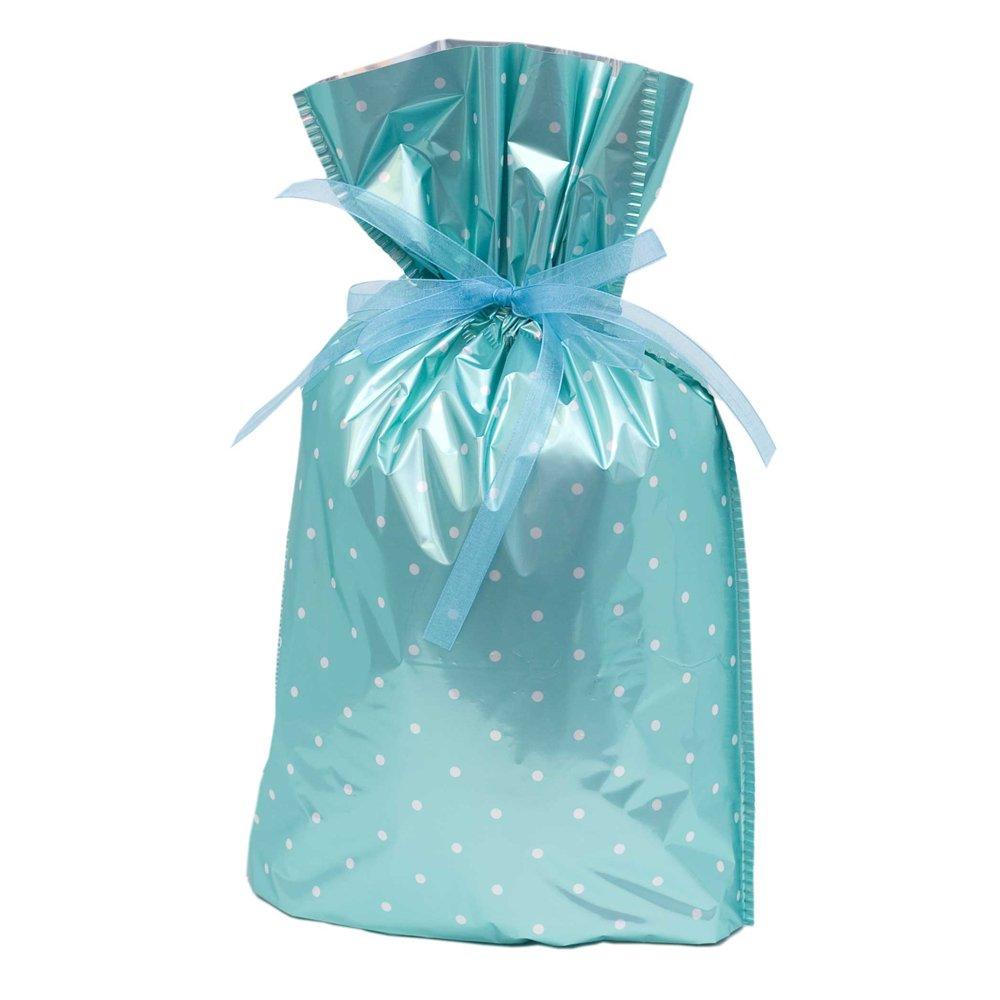 Gift mate Geschenk Mate 21058–6 Geschenktaschen mit Kordel, mittelgroß, Blaugrün Polka Dot