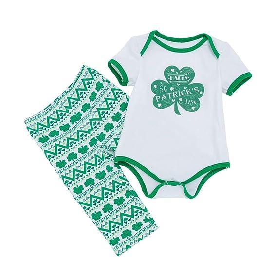 Mitlfuny San Patricio Verano Niñas Mameluco Conjunto de Ropa Bebé Niña Niño Trébol Estampado Camisas de