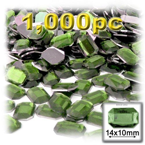 長方形の八角形クラフトアウトレット144アクリルアルミ箔フラットバックラインストーン、10by 14mm、オリーブグリーンの商品画像