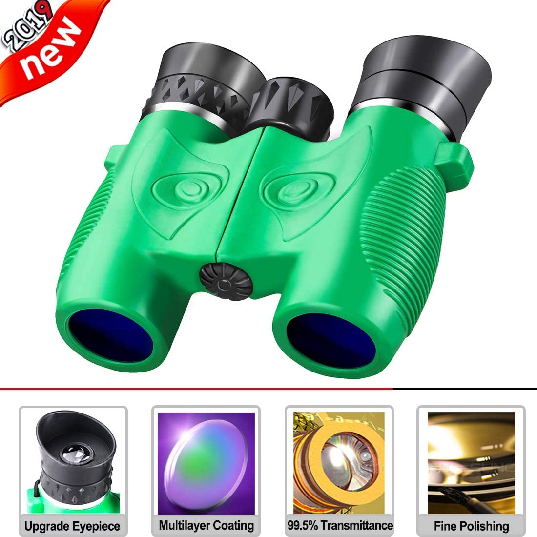 Beiko Kids Binoculars,Compact Folding High Resolution Binoculars for Toddlers with Strap Perfect for Travel Theatre and Bird Watching Even Night Vision Stargazing Boys Girls Birthday Gift Green