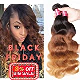 Sunber Hair Brazilian Ombre Virgin Hair Body Wave Weft Mixed Bundles 100% Human Hair Extensions #1b/4/27 Color (T1B/4/27,16 18 20)