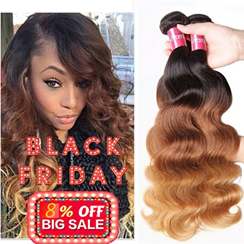 Sunber Hair Brazilian Ombre Virgin Hair Body Wave Weft Mixed Bundles 100% Human Hair Extensions #1b/4/27 Color (T1B/4/27,16 18 20) by Sunber