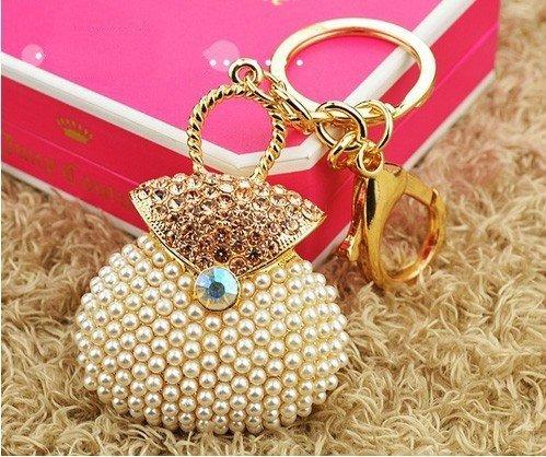 White Pearl Handbag Keychain Jewelry Fashion Crystal Metal Key Ring Gift Purse Charm Handbag Pendant Lady (Tiffany Tiffany Style Key Ring)