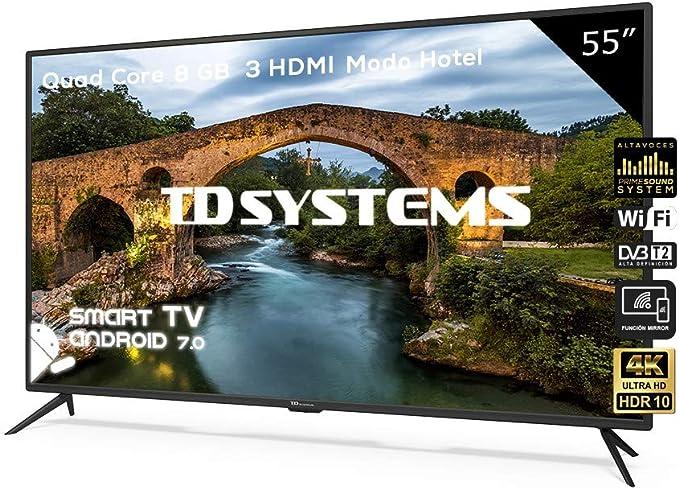 Televisor Led 55 Pulgadas Ultra HD 4K Smart, TD Systems K55DLX9US. Resolución 3840 x 2160, HDR10, 3X HDMI, VGA, 2X USB, Smart TV.: Amazon.es: Electrónica