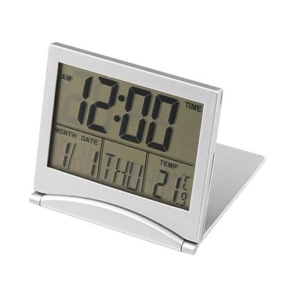 Hrph Digital LCD estación meteorológica plegable escritorio temperatura viajes alarma reloj