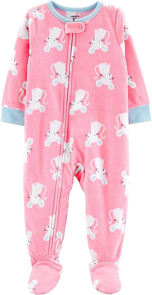Carters Toddler Girls Pink Mouse Footed Fleece Pajama Sleeper