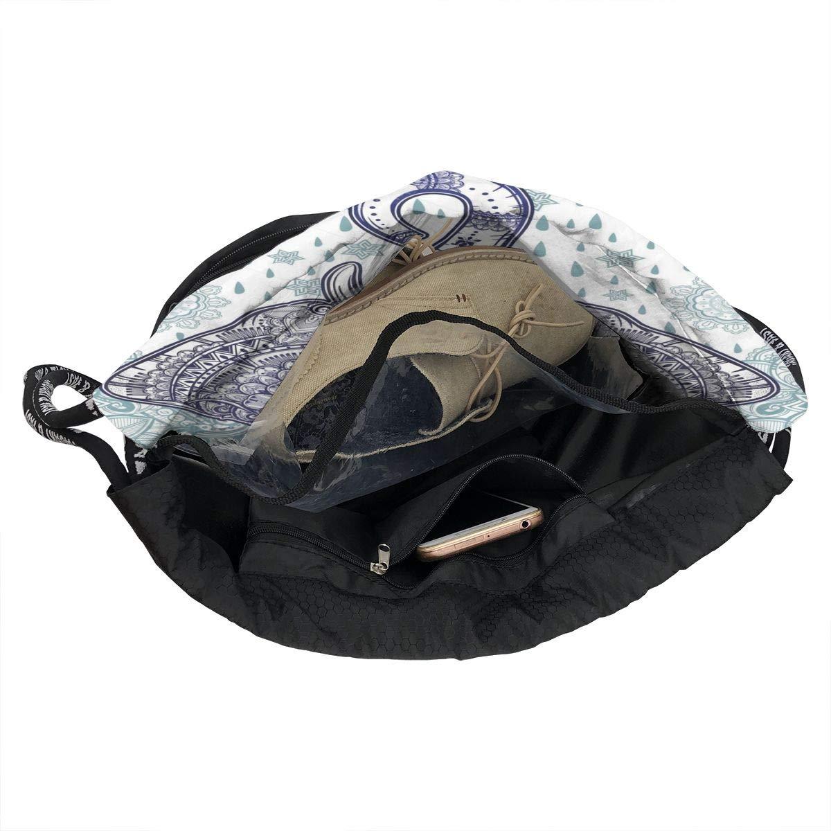 HUOPR5Q Heart Wolf Boho Ethnic Elephant Drawstring Backpack Sport Gym Sack Shoulder Bulk Bag Dance Bag for School Travel