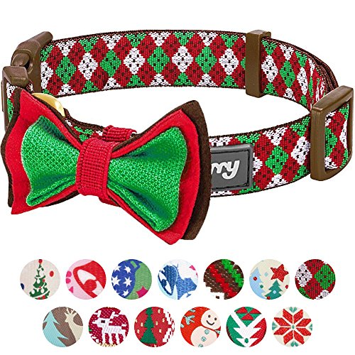 Blueberry Pet 14 Patterns Christmas Party Fair Isle Style Dog Collar with Detachable Bow Tie, Small, Neck 12