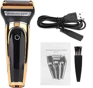 Afeitadora eléctrica - Afeitadora de barba, carga USB Afeitadora eléctrica multifuncional 3 en 1: Amazon.es: Belleza
