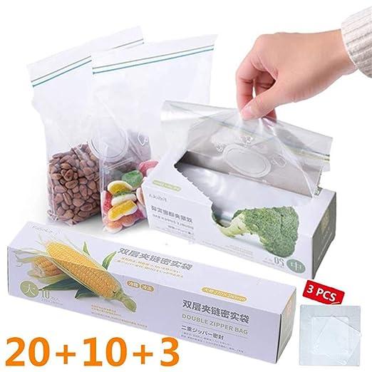 Nifogo Bolsas de Plástico con Cierre Resellables & Tapas Silicona Elástica Cocina -Contenedor para Frutas Verduras Carne y Sopa