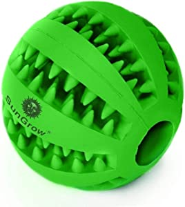 SunGrow Dental Chew Treat Ball for Dogs, Interactive Pet Training Toy, Durable, Rubber Tooth Cleaning Toy, Boredom Buster & for Physical & Mental Stimulation, 1pc