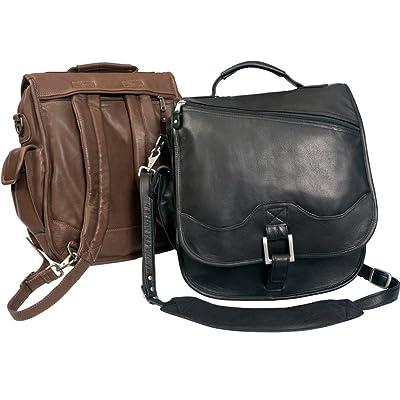 50%OFF Leather Flap Over Buckle Closure Vertical Laptop Briefcase Backpack School Book Messenger Bag