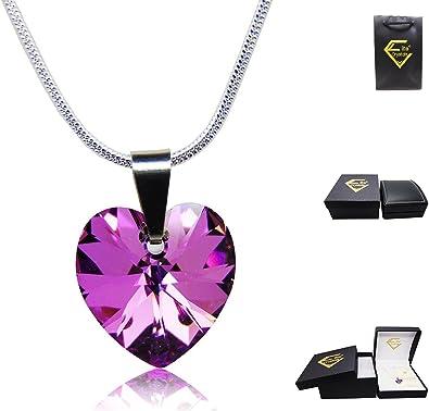 Halskette mit echten Swarovski Kristallen, Vitrail Light Herz Kristall, Sterling Silber 925, Schlangen Kette
