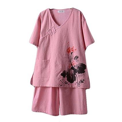 Blancho Bedding Pijamas Cortos Traje de Algodón Khan Ropa de Vapor del Estilo Chino del Patrón