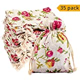 35 PCS Floral Burlap Bags with Drawstring,Spnavy Rose Flower Gift Bags Candy Pouches Burlap Jewelry Pouches Sacks for DIY Craft Wedding Party Favor Bags,5.51 X 3.94 Inch