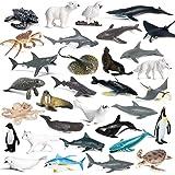 RCOMG 32PCS Mini Sea Creature Figures Toy, Plastic Ocean Animal Figurine Set with Sharks Whales Arctic Animals etc, Realistic