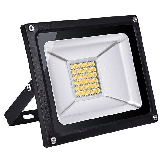 Proyector LED de 30W Exterior Aluminio IP65 Blanco cálido 30000LM ...