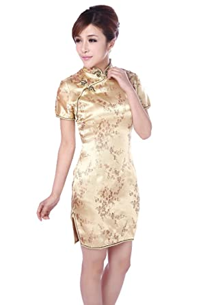 JTC Gold Short Cheongsam Party Evening Dresses Womens Prom Dress (UK6)
