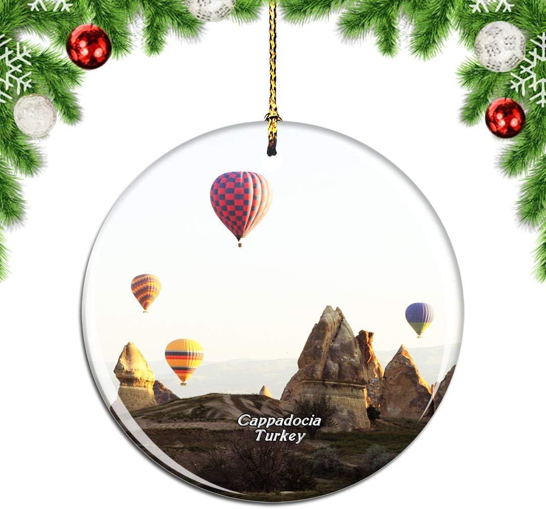 Weekino Turkey Hot Air Balloon Cappadocia Christmas Xmas Tree Ornament Decoration Hanging Pendant Decor City Travel Souvenir Collection Double Sided Porcelain 2.85 Inch