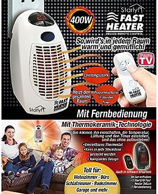 Mini port/átil y potente y de calefacci/ón con tecnolog/ía de cer/ámica t/érmicos de para el enchufe Starlyf/® Fast Heater Producto original de TV de publicidad