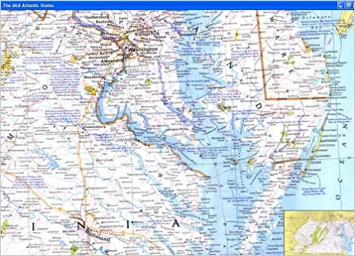 National Geographic Closeup USA Map Maryland Virginia Delaware