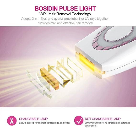 Depiladora de luz pulsada, IPL para la depilación, depiladora ligera con 350000 pulsos de luz con gafas de protección solar en el hogar y salón adecuado ...