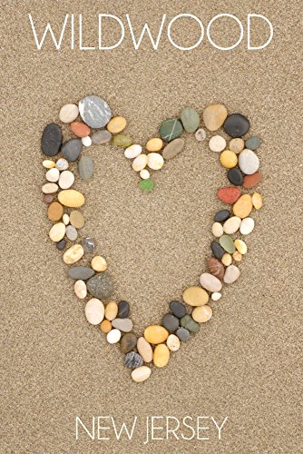 Wildwood, New Jersey - Stone Heart on Sand (24x36 SIGNED Print Master Giclee Print w/Certificate of Authenticity - Wall Decor Travel Poster)