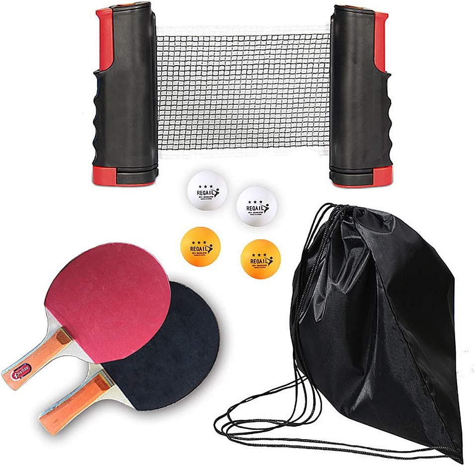 Lumemery Juego de Pelotas de Ping-Pong instantáneo, Red retráctil, 2 Raquetas de Tenis de Mesa, 4 Pelotas Actividades para Adultos al Aire Libre para Adultos