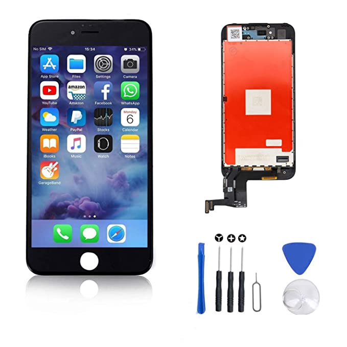 reputable site cfbb2 3e75f FFtopu Compatible for Screen Replacement for iPhone 7 Plus in Black,  Including All Tools,Repair Kit with Digitizer LCD Touch Screen Frame  Assembly ...