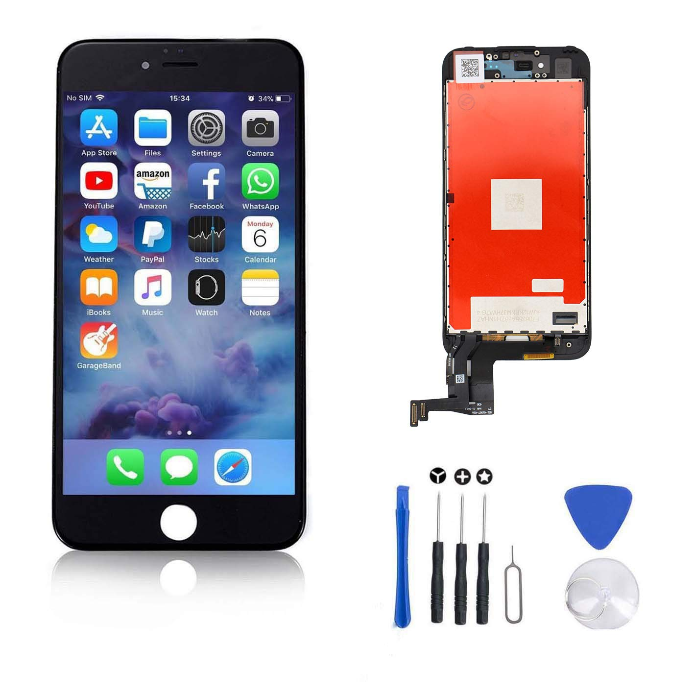 FFtopu Compatible for Screen Replacement for iPhone 7 Plus in Black, Including All Tools,Repair Kit with Digitizer LCD Touch Screen Frame Assembly (iPhone 7 Plus, 5.5''