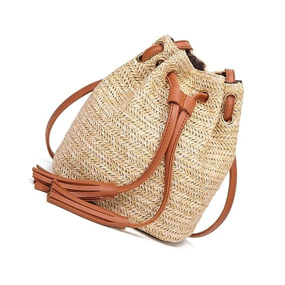 Intimo sportivo Corsa Luckiests Paglia delle Donne ha Intrecciato Sacchetto di Spalla Girls 2 Nappa Messenger Pouch Benna Corssbody Gift Bag