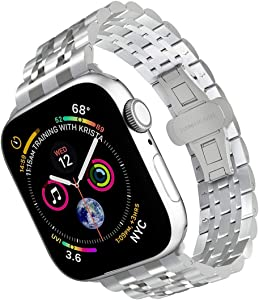 ARTCHE Smartwatch Band Compatible with Apple Watch 42mm 44mm, Premium Stainless Steel Replacement Strap Metal Sports Wristband Link Belt for iWatch Series 5/4/3/2/1, Silver