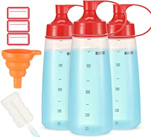 Condiment Squeeze Bottle Wide Mouth, Ondiomn 3 Pack 400ml Clear Squeeze Bottles for Condiments, Paint, Ketchup, Mustard, Oil, Sauces, Resin, Baking, Cake Decorating, Cleaning, BPA Free-Food Grade