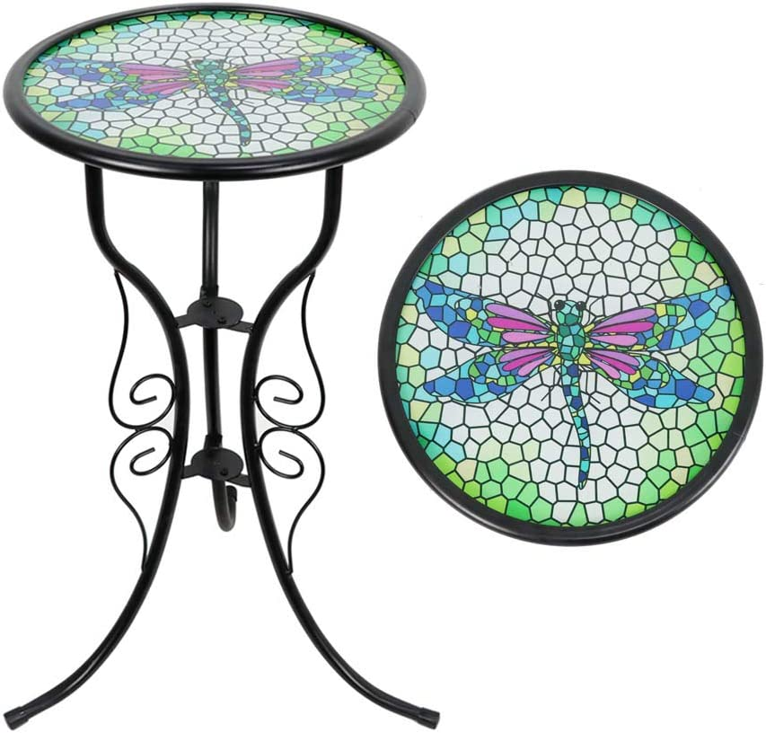 Liffy Outdoor Mosaic Side Table Dragonfly Bench Small Patio Round Printed Glass Table for Garden, Yard or Lawn