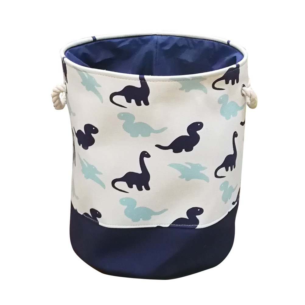Fieans Toy Storage Bins Cotton Decorative Laundry Basket Fabric Round Home Organizer Solution for Bedroom, Closet, Nursery - Dinosaur/Blue