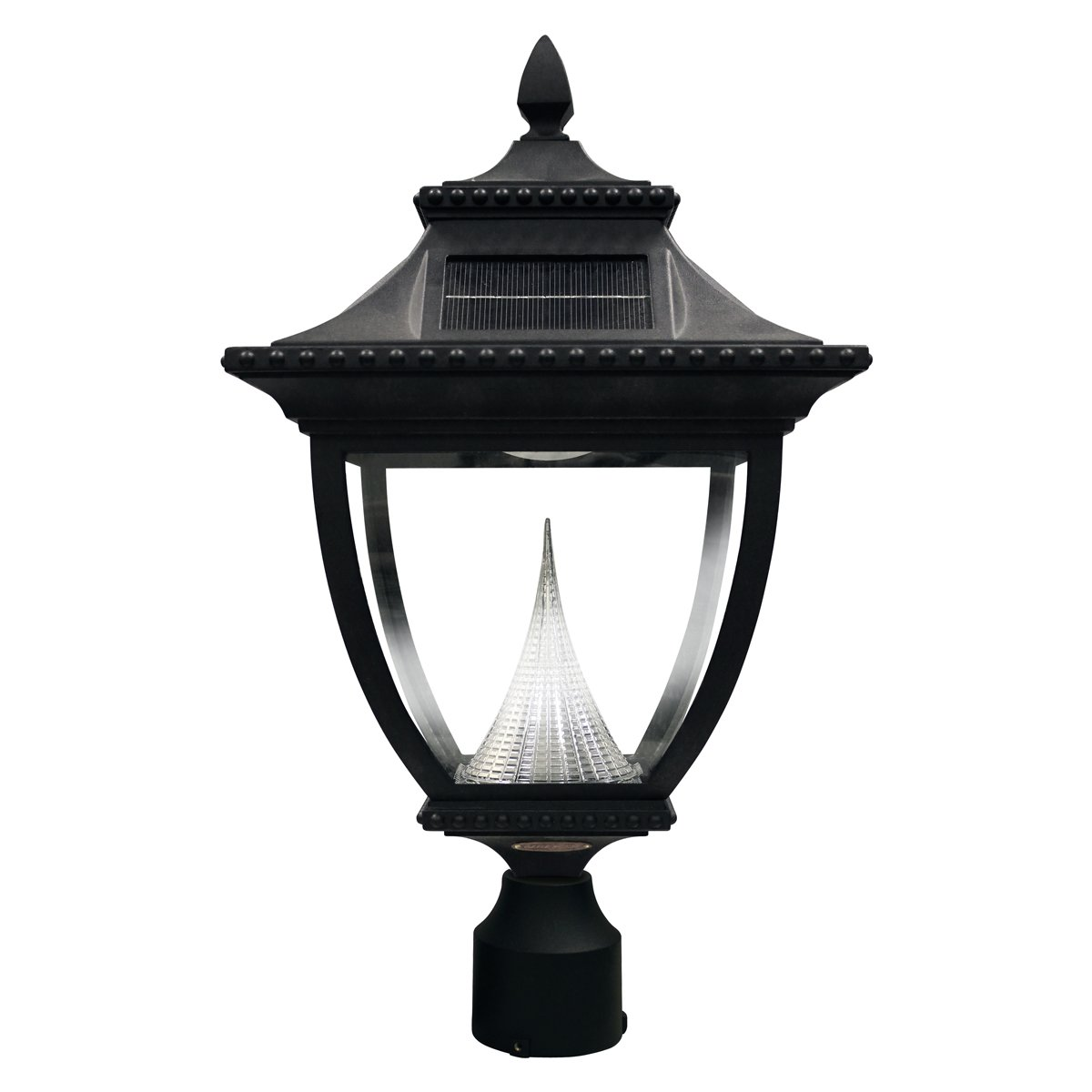 Gama Sonic Pagoda Solar Outdoor LED Light Fixture, 3-Inch Fitter for Post Mount, Black Finish #GS-104F