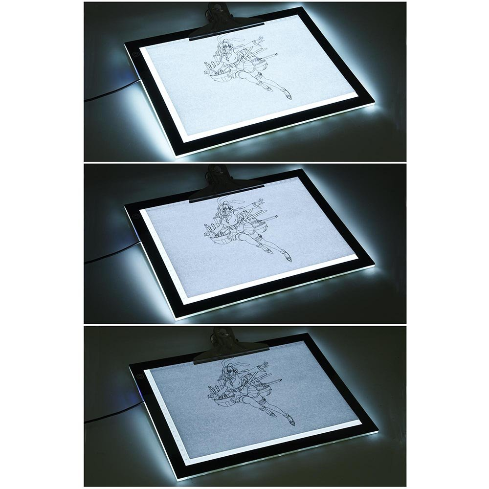 14'' 4.5 W LED Tracing Stencil Board Dimmable Touch Switch Smart Brightness Memory Eye-Protective Technology 360° Rotating 7 Stages Height Adjustable Pad US Delivery(14''L x 10 3/4''W x 1/3''H) by ZeHuoGe (Image #2)