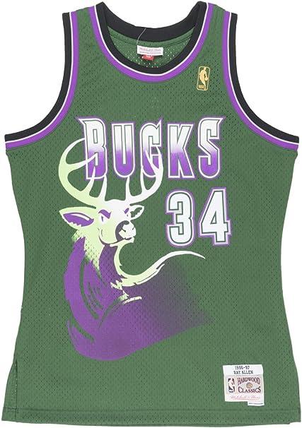 Ray Allen Milwaukee Bucks Mitchell and Ness Men's Green Throwback Jesey
