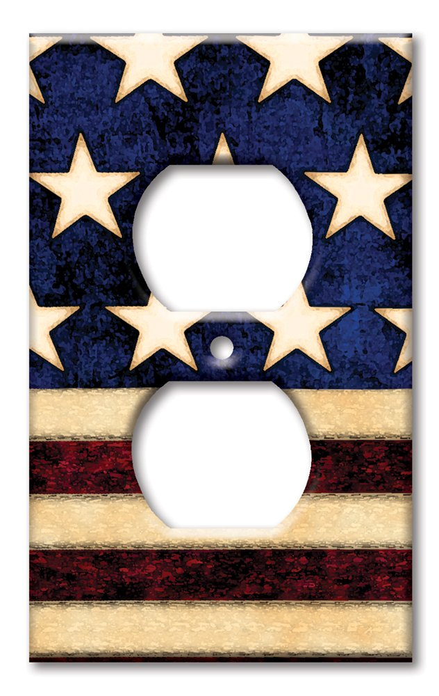 Art Plates - Single Gang Outlet OVERSIZE Switch/OVER SIZE Wall Plate - Old Flag