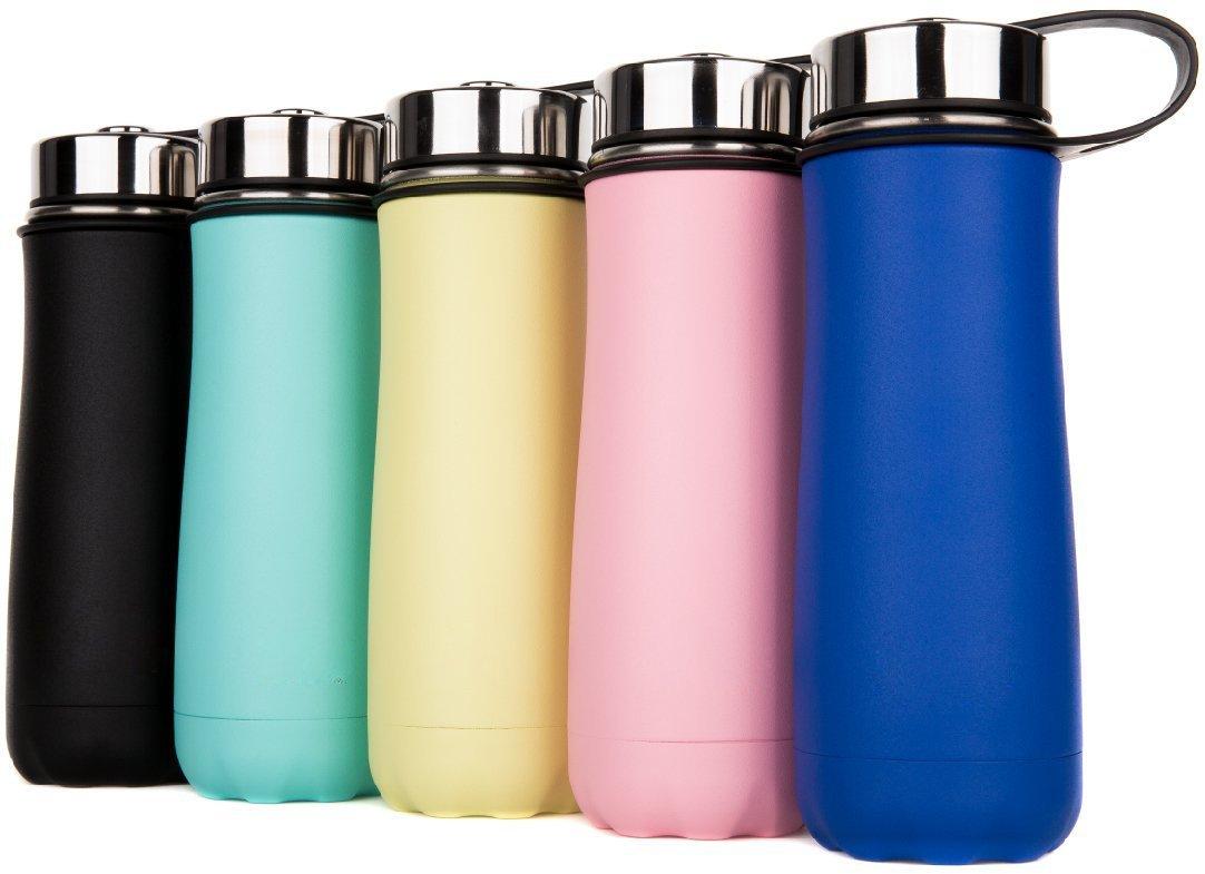 Oleein Eco amigable y sin plásticos BPA - Flujo de agua rápida, Flip Top, se abre con 1-Click - Reutilizable con tapa a prueba de fugas - Para correr, Gimnasio, Yoga, Aire libre y Camping OL-2