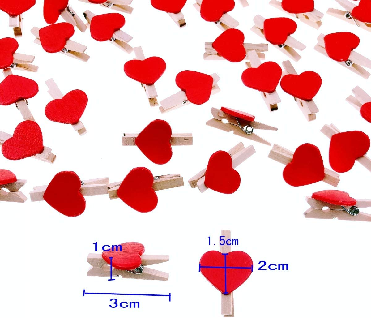Jute Twine String 30m for Wedding Party Photo Holder Card Decoration and DIY Craft JZK 100 x Mini Wooden Colored Heart pegs 3cm