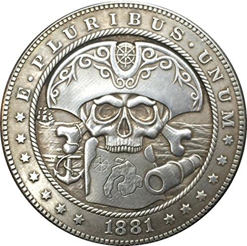 Rare Antique USA United States 1881 CC Hobo Nickel Morgan Dollar Skull Zombie Silver Color Coin