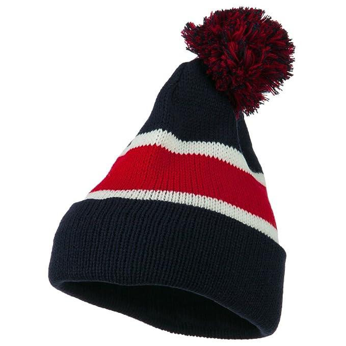 d561c336df3 Amazon.com  Knit Stripe Pom Cuff Beanie - Navy Red OSFM  Clothing
