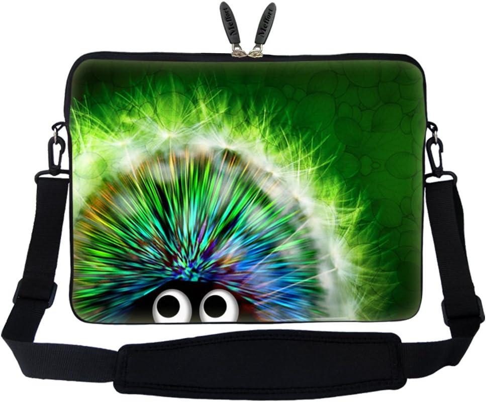 Meffort Inc 15 15.6 inch Neoprene Laptop Sleeve Bag Carrying Case with Hidden Handle and Adjustable Shoulder Strap - Cute Porcupine