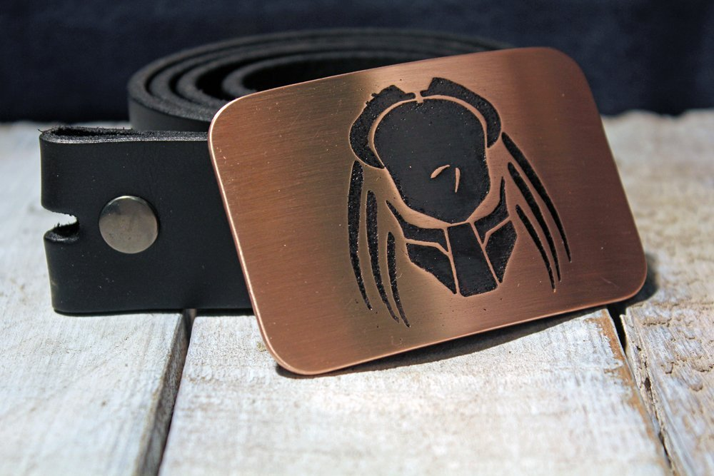 Predator Etched Metal Belt Buckle