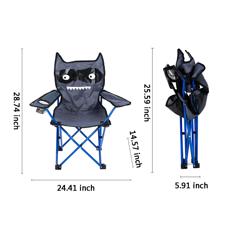 Fitlyiee Cartoon Monster Outdoor Folding Chair with Cup Holder for Kids Camping Fishing by Fitlyiee (Image #2)